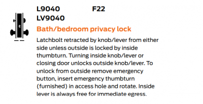 Schlage L Series (Mortise Lock) Bath/Bedroom Privacy Function (F22).